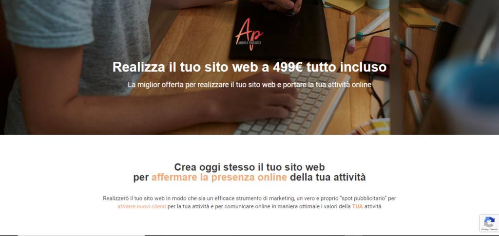 vocabolario del web designer - esempio landing page
